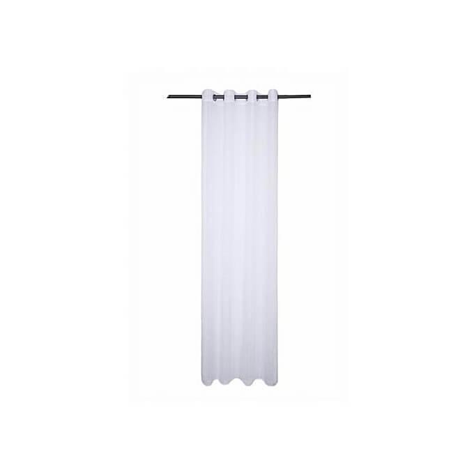 Rideau Voilage Rayures Blanc Lolita Dim 140x260cm Finition Anneaux Lavable à 30